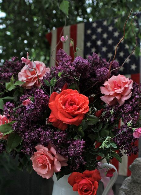 Lilacs,sweet peas, roses