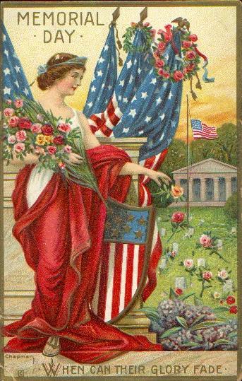 Memorial day vintage postcard